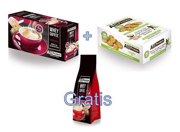 KIT - 1 caixa de Whey Coffee MOCACCINO 625g + 1 Caixa de Whey Cookie de COCO 640g - GRÁTIS Pacote whey coffee CAPPUCCINO 300g