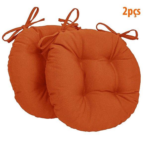 Almofada Para Assento Redondo Ø40cm - Laranja 2 Peças
