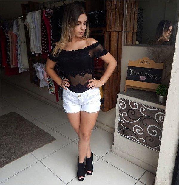 a8909d7d3 Body Feminino Rendado Ombro a Ombro - Renda   Fenda - Moda Feminina ...