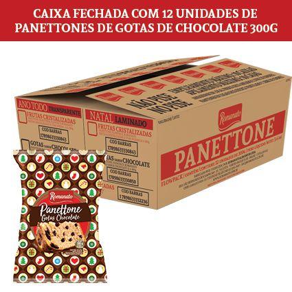Caixa Fechada: 12 unidades Panettone Flowpack Gotas Chocolate 300g