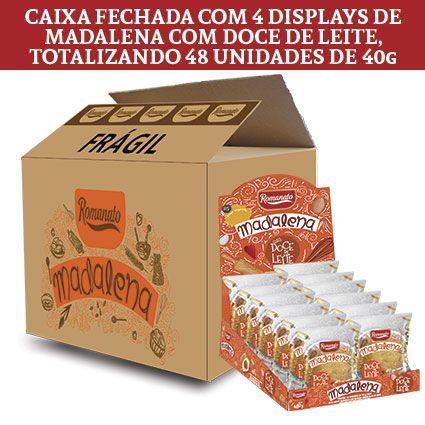 Caixa Fechada: 48 unidades de Bolinho Madalena de Doce de Leite (40g cada)