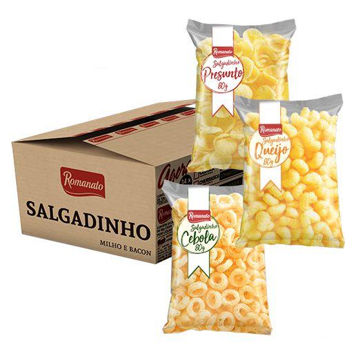 Caixa Fechada: 20 unidades de Salgadinho de Milho Sabor Queijo (80g)