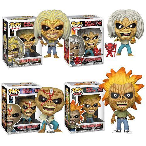 Funko Pop Rocks: Iron Maiden Eddie set com 4 personagens