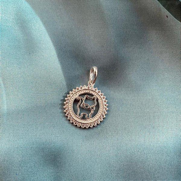 Pingente mandala de Gato em prata 925