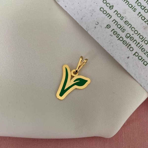 Pingente folha verde Vegan folheado em ouro 18K