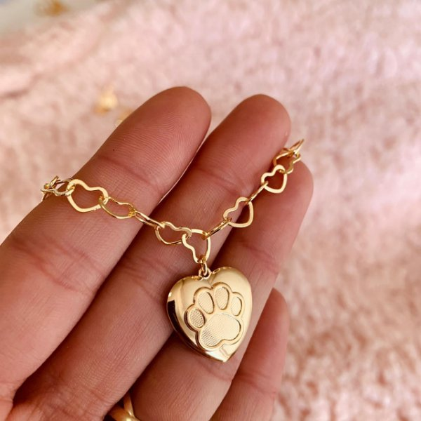 Pulseira elos coração com patinha folheado em ouro 18K
