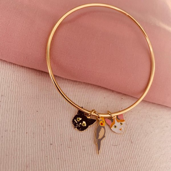 Pingente pequeno personalizado colorido para pulseira folheado em ouro 18K