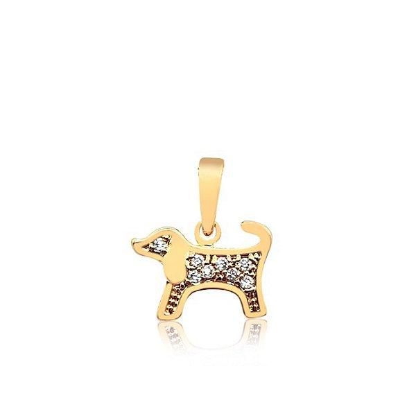 Pingente cachorro com pedras de zircônia folheado em ouro 18k