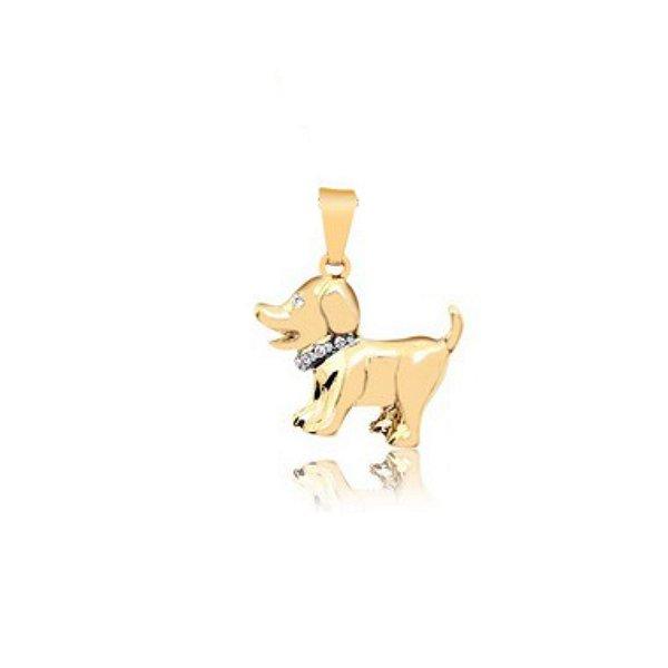Pingente de cachorro com coleira em pedrinhas de zircônia folheado em ouro 18k