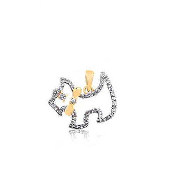 Pingente cachorro vazado cravejado de zircônia folheado em ouro 18k