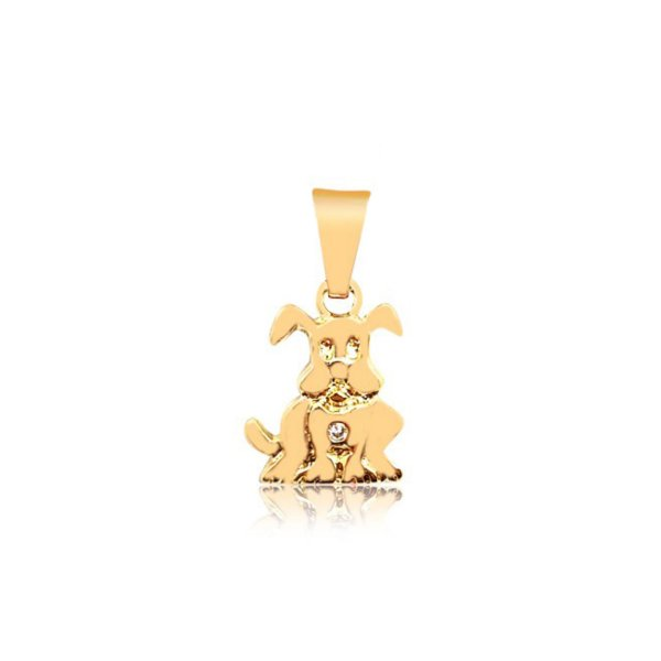 Pingente cachorro sentado com pedra de zircônia folheado em ouro 18k