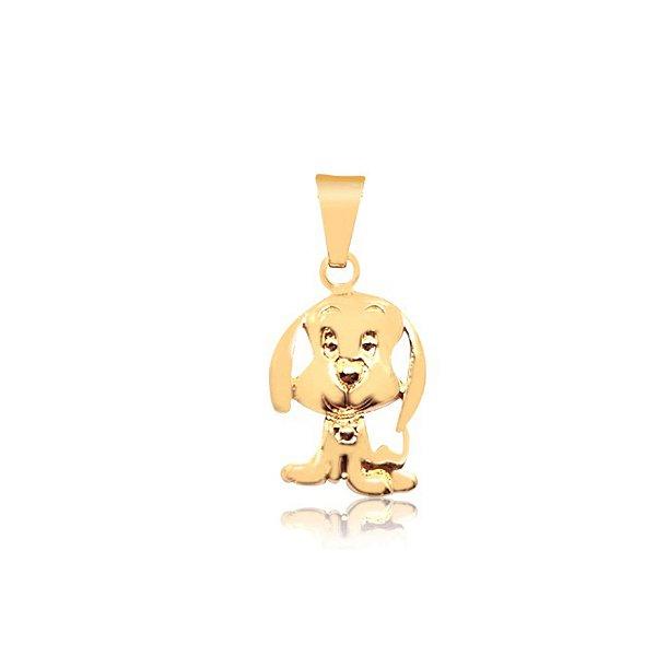 Pingente cachorro com orelhas longas folheado em ouro 18k