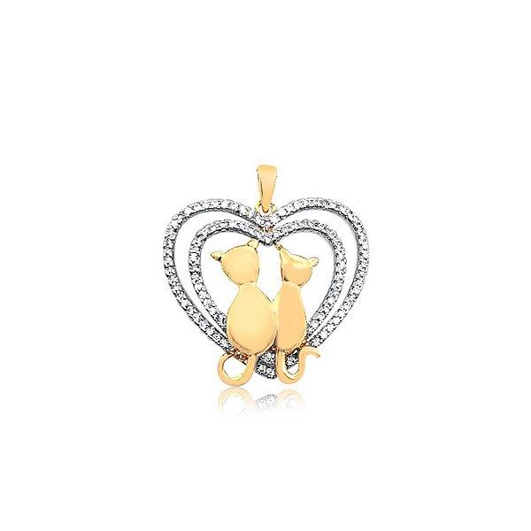 Pingente casal de gatos dentro do coração com pedras de zircônia folheado em ouro 18K