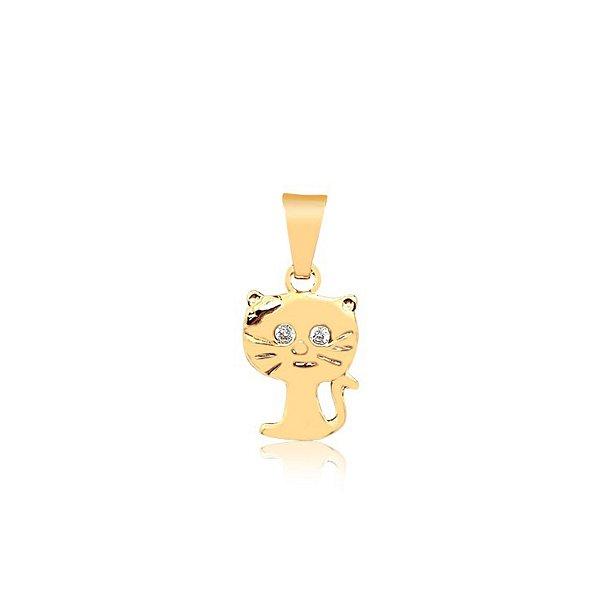 Pingente de gato com pedra de zircônia nos olhos folheado em ouro 18K