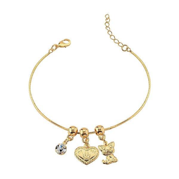 Pulseira patinha, gato e coração folheada em ouro 18k