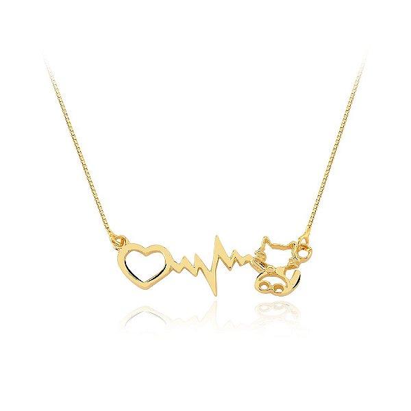 Colar batimento cardíaco com coração e gatinho folheado em ouro 18K