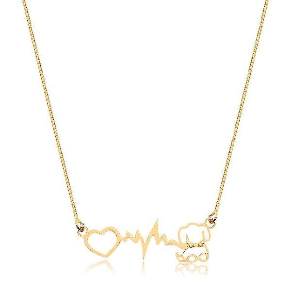 Colar batimento cardíaco com coração e cachorrinho folheado em ouro 18K