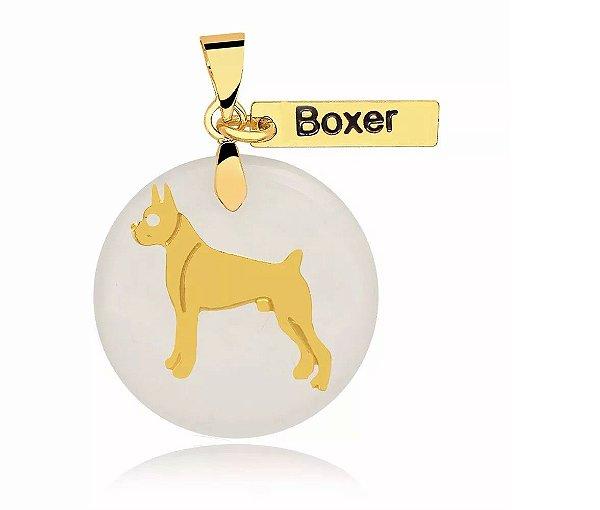 Pingente madrepérola raça Boxer folheado em ouro 18k