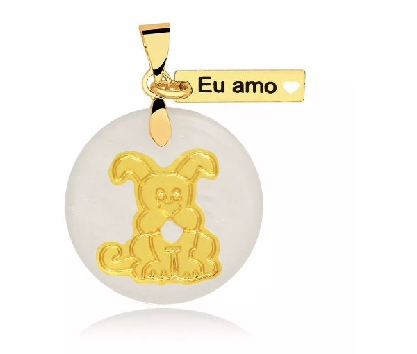 Pingente madrepérola eu amo cachorro folheado em ouro 18k
