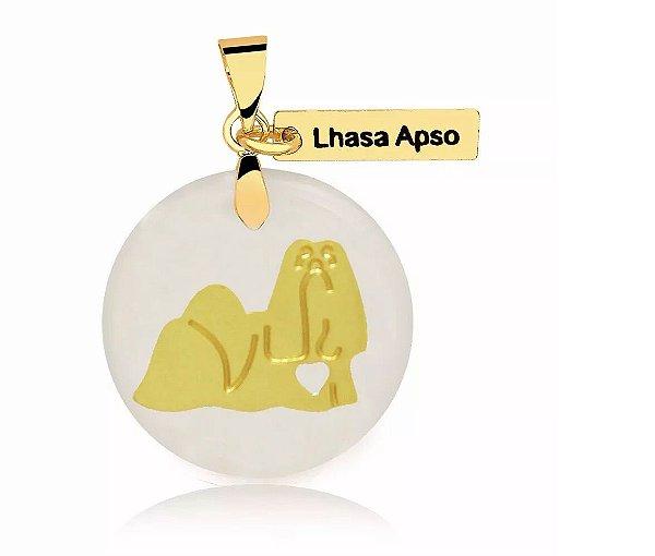 Pingente madrepérola raça Lhasa Apso folheado em ouro 18k