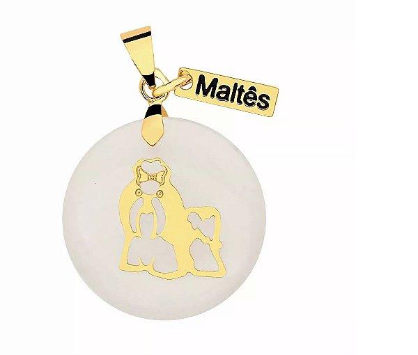 Pingente madrepérola raça Maltês folheado em ouro 18k