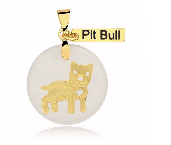 Pingente madrepérola raça Pit Bull folheado em ouro 18k
