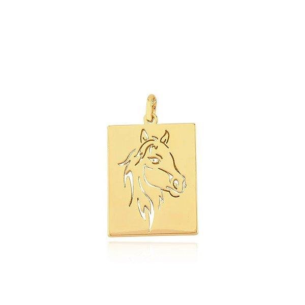 Pingente quadrado de cavalo folheado em ouro 18k