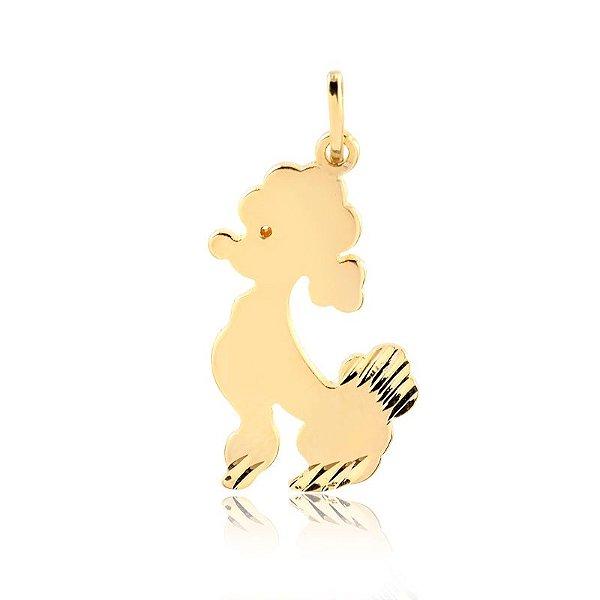 Pingente de Poodle folheado em ouro 18K