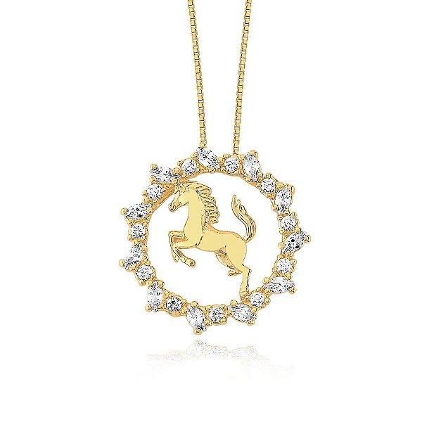 Colar mandala de cavalo folheado em ouro 18k
