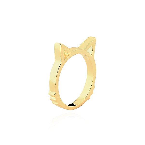 Anel orelha de gato folheado em ouro 18k