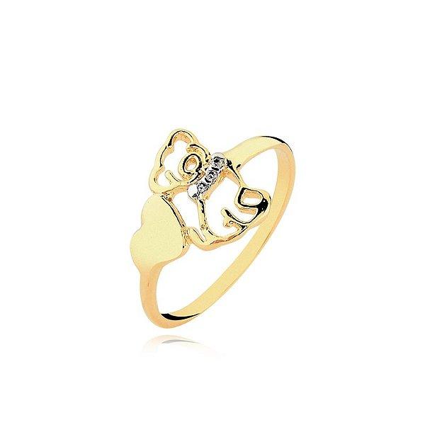 Anel cachorro com coração folheado em ouro 18k