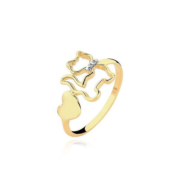 Anel gato com coração folheado em ouro 18k