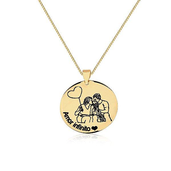 Colar medalha personalizado com foto folheado a ouro 18k