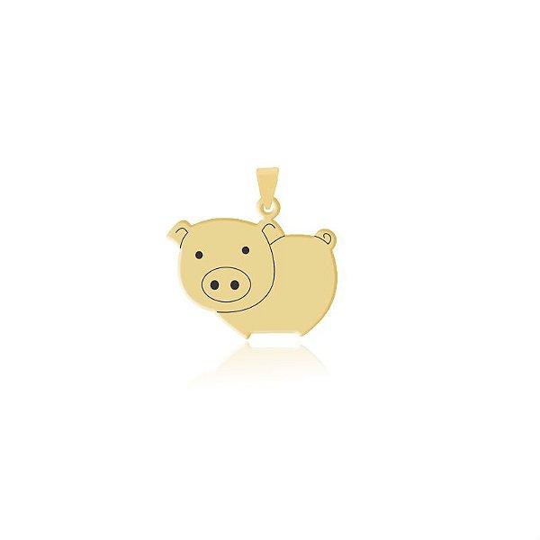 Pingente Porco folheado em ouro 18k