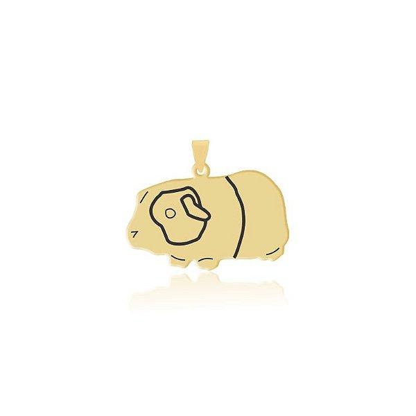 Pingente Porquinho da Índia folheado em ouro 18k