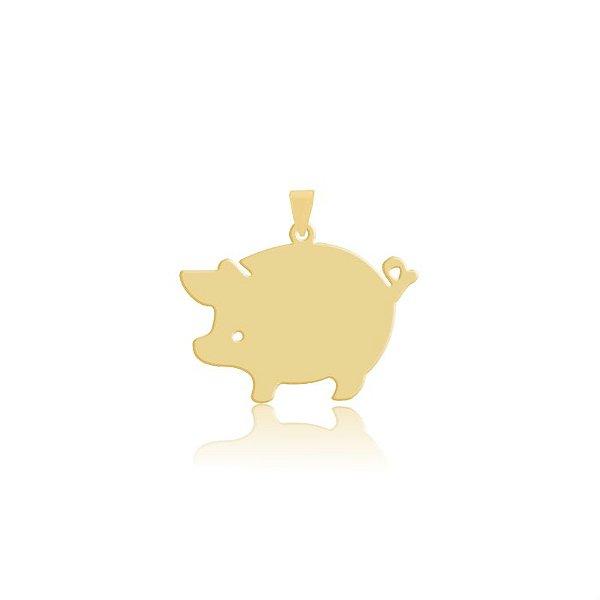 Pingente Porco com olho vazado folheado em ouro 18k