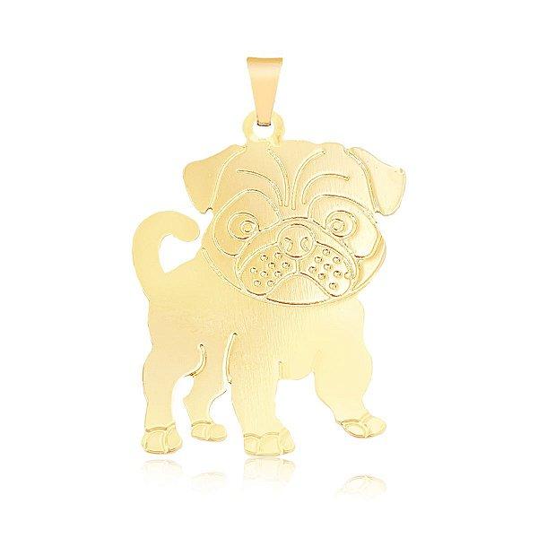 Pingente Pug com detalhes em baixo relevo folheado em ouro 18k