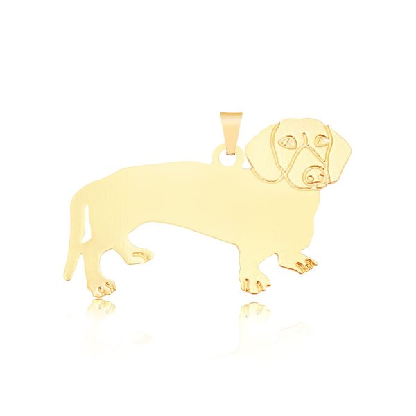Pingente Dachshund (Salsicha) com traços no rosto folheado em ouro 18k