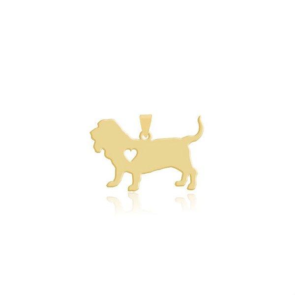Pingente Basset Alemão folheado em ouro 18k