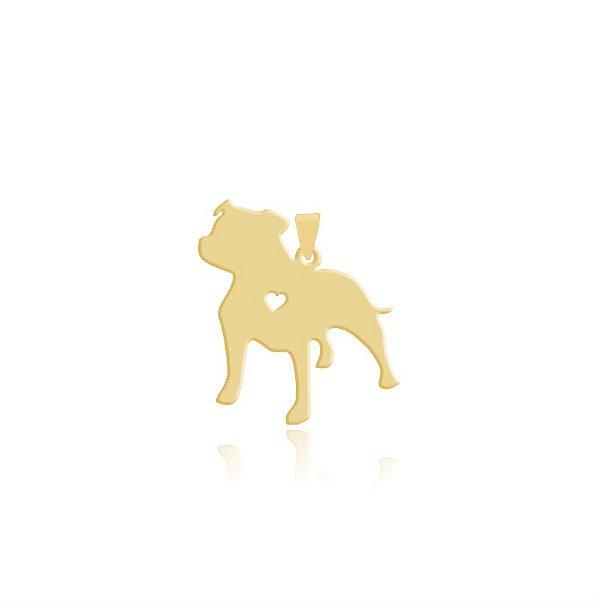 Pingente Staffordshire Bull Terrier folheado em ouro 18k
