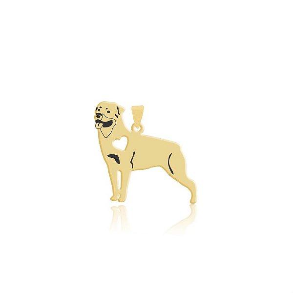 Pingente Rottweiler folheado em ouro 18k