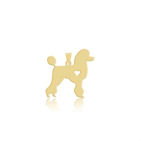 Pingente da raça Poodle folheado em ouro 18k