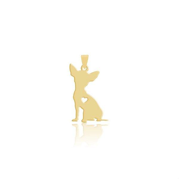 Pingente Pinscher Mini folheado em ouro 18k