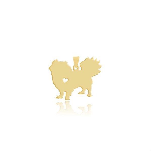 Pingente Pequinês folheado em ouro 18k