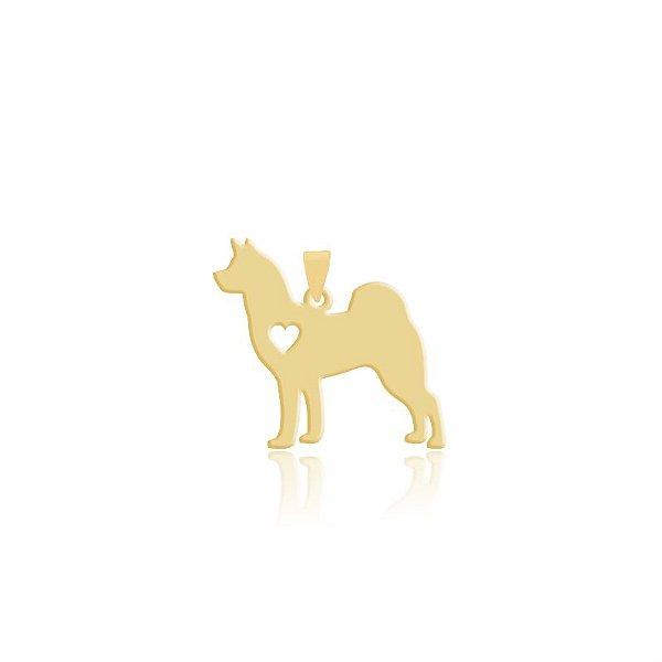Pingente Husky Siberiano folheado em ouro 18k