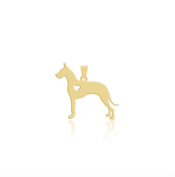 Pingente Dog Alemão folheado em ouro 18k