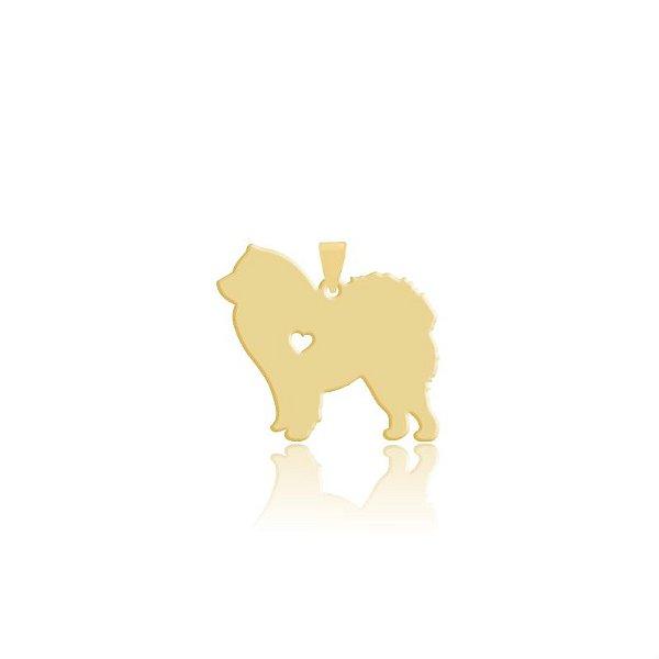Pingente Chow Chow folheado em ouro 18k