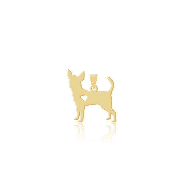 Pingente Chihuahua pelo curto folheado em ouro 18k