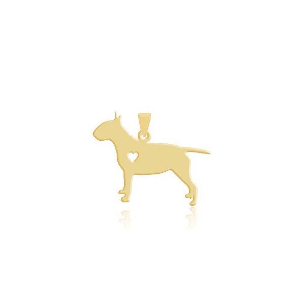 Pingente Bull Terrier folheado em ouro 18k