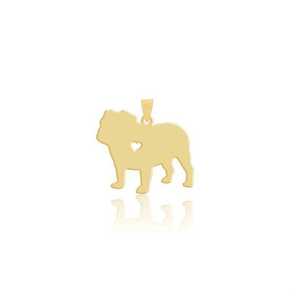 Pingente Bulldog folheado em ouro 18k